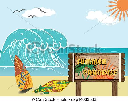 Clip Art Vector of Welcome to Summer Paradise.