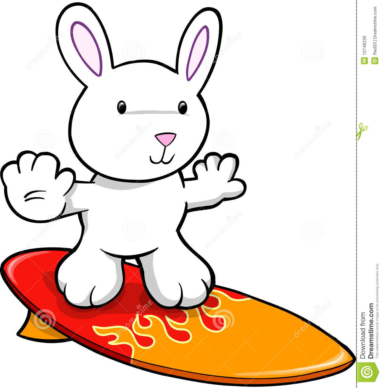 Easter Bunny Rabbit Surfing Royalty Free Stock Images.