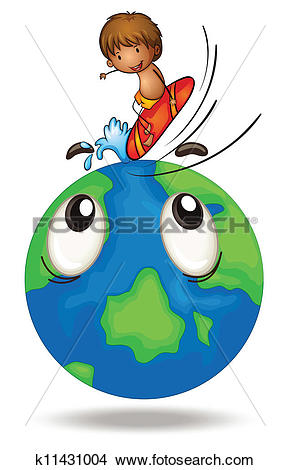 Clipart of a boy surfing on earth globe k11431004.