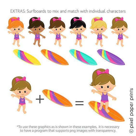 Surfer Girls Clipart.