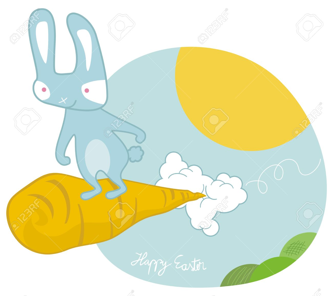 Sky Surfing Easter Bunny On A Giant Carrot Royalty Free Cliparts.