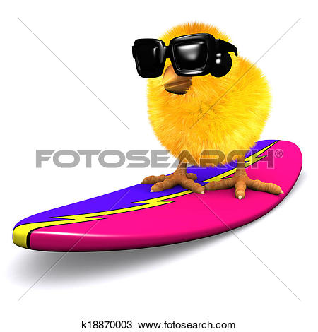 Drawing of 3d Easter chick surfing k18870003.