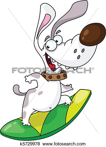 Clip Art of dog and surfing k5729978.