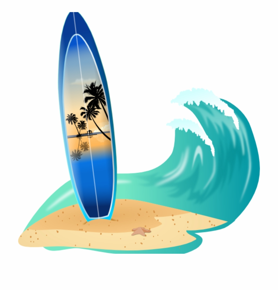 Surf Board Clip Art Surfboard And Wave Clip Art At.