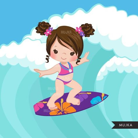 Surfer girls clipart, surfing characters, african american.