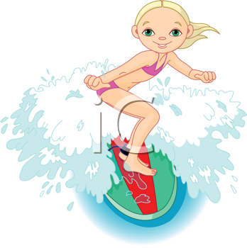 Royalty Free Clipart Image of a Girl Surfing.