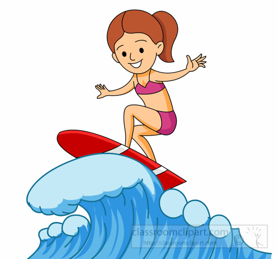 Girl Surfing On Large Wave » Clipart Station.
