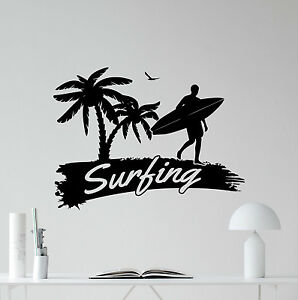 Details about Surfing Wall Decal Logo Sports Palm Surfer Vinyl Sticker Gym  Decor Poster 208hor.