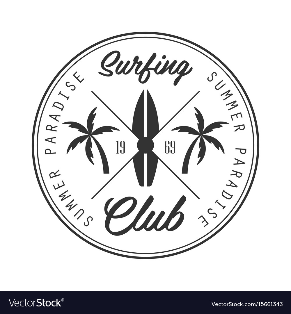 Summer paradise surfing club logo template black.