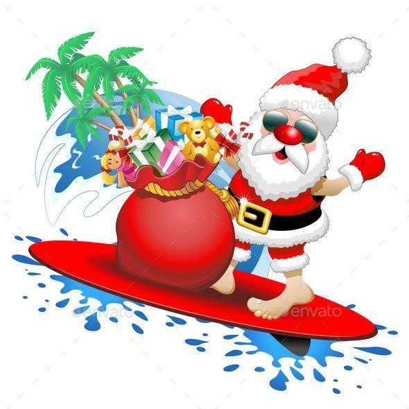 Santa Claus Surfing Clipart.