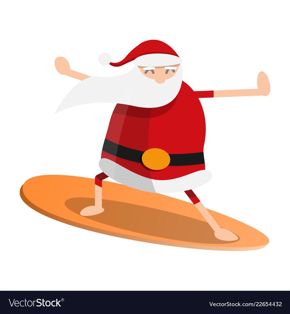 Santa claus surfing icon cartoon style.