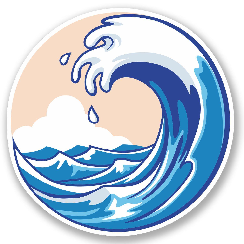 2 x Wave Vinyl Sticker iPad Laptop Surf Surfer Wakeboard.