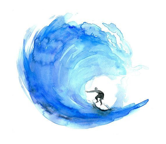 Surf Art, surf watercolor painting, Poster, print, ocean.