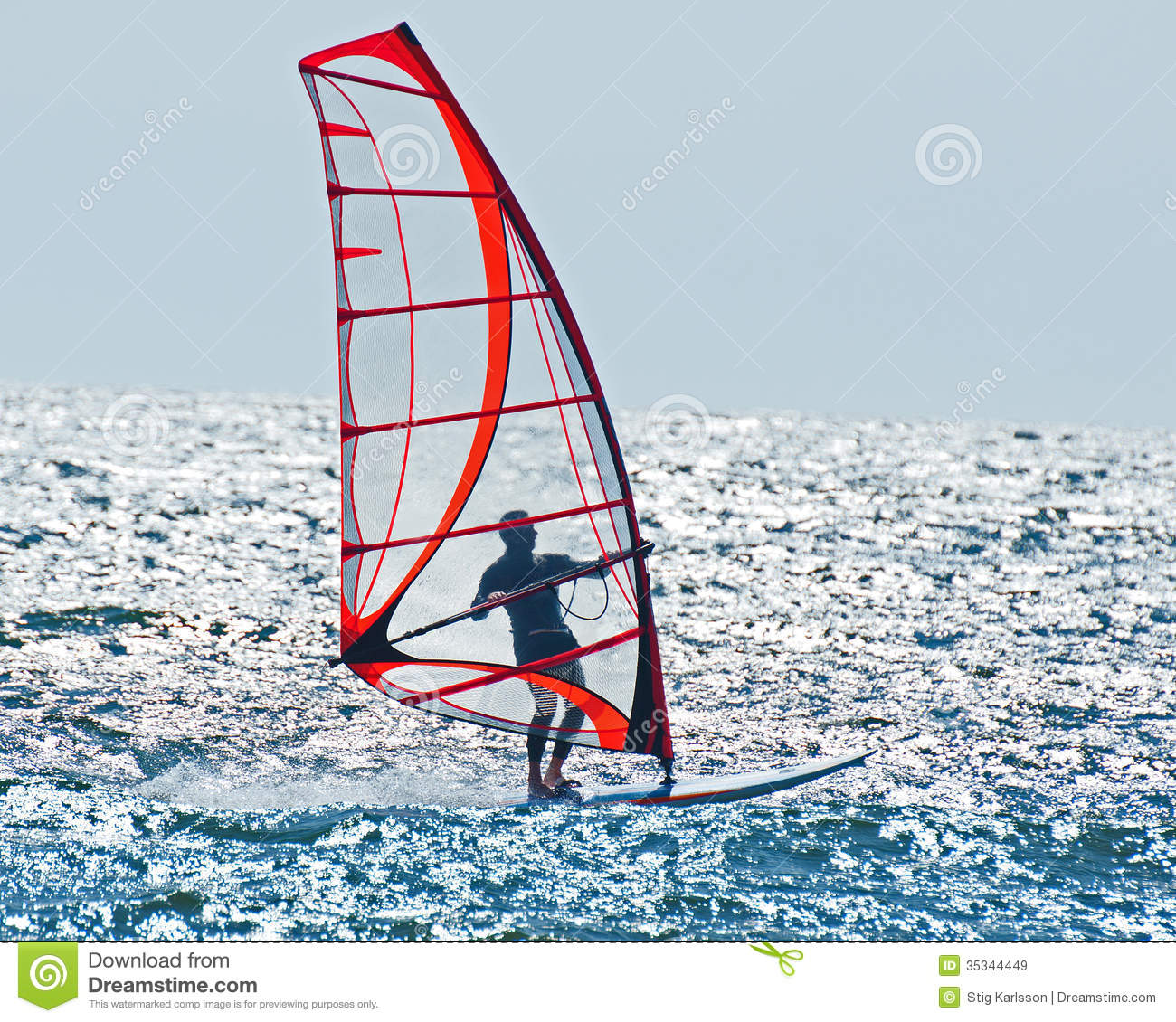 Calm Wind Surfing Royalty Free Stock Images.