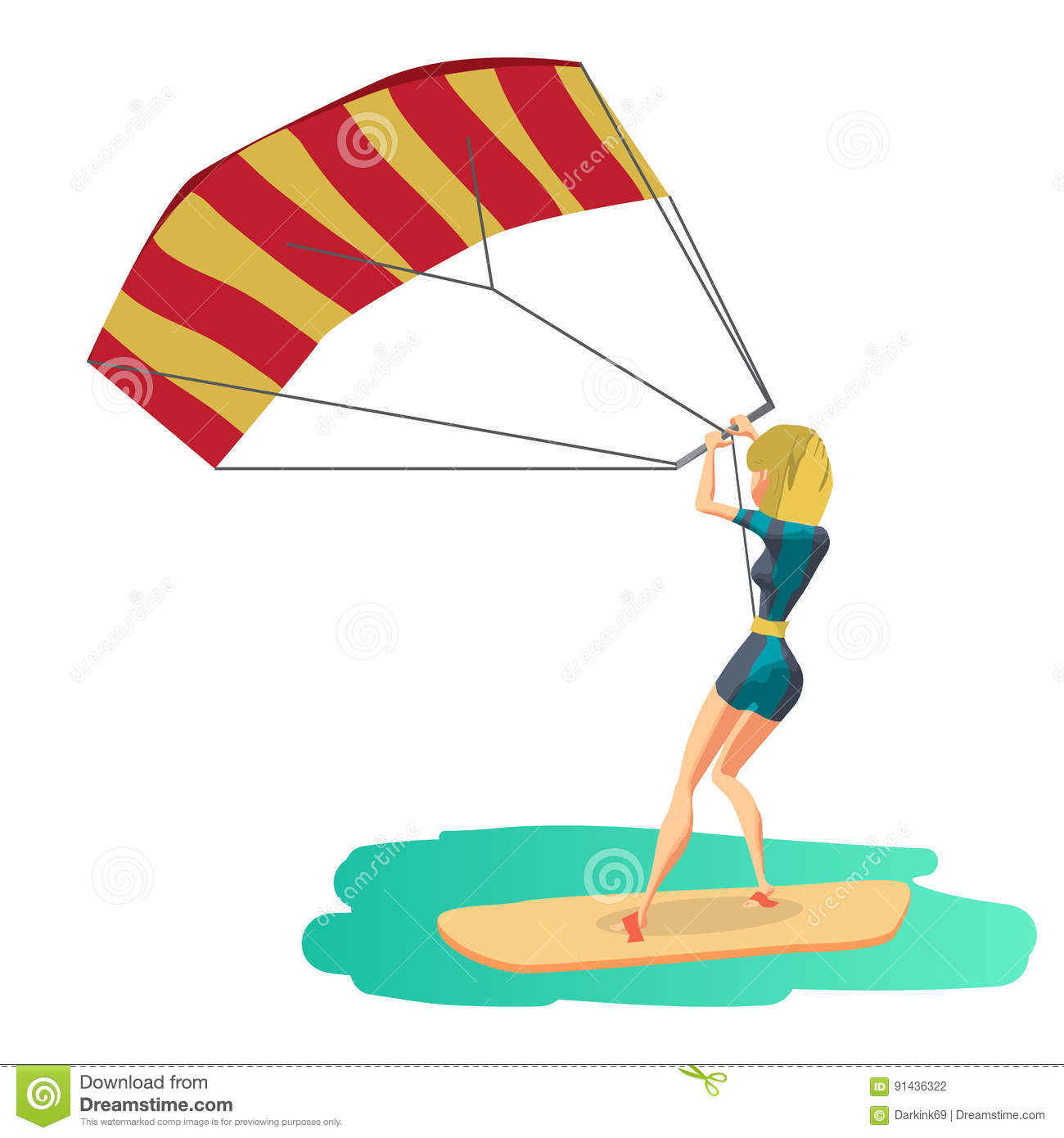 Woman Drive At Kite Surfing. Back View Stock Illustration.