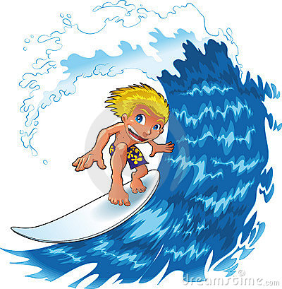 Cartoon Boy Surfing Stock Photos, Images, & Pictures.