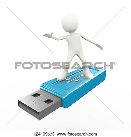 Drawing of 3d man surfing on usb flash drive k24199573.