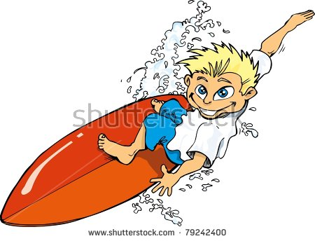 Cartoon Surfer Stock Images, Royalty.