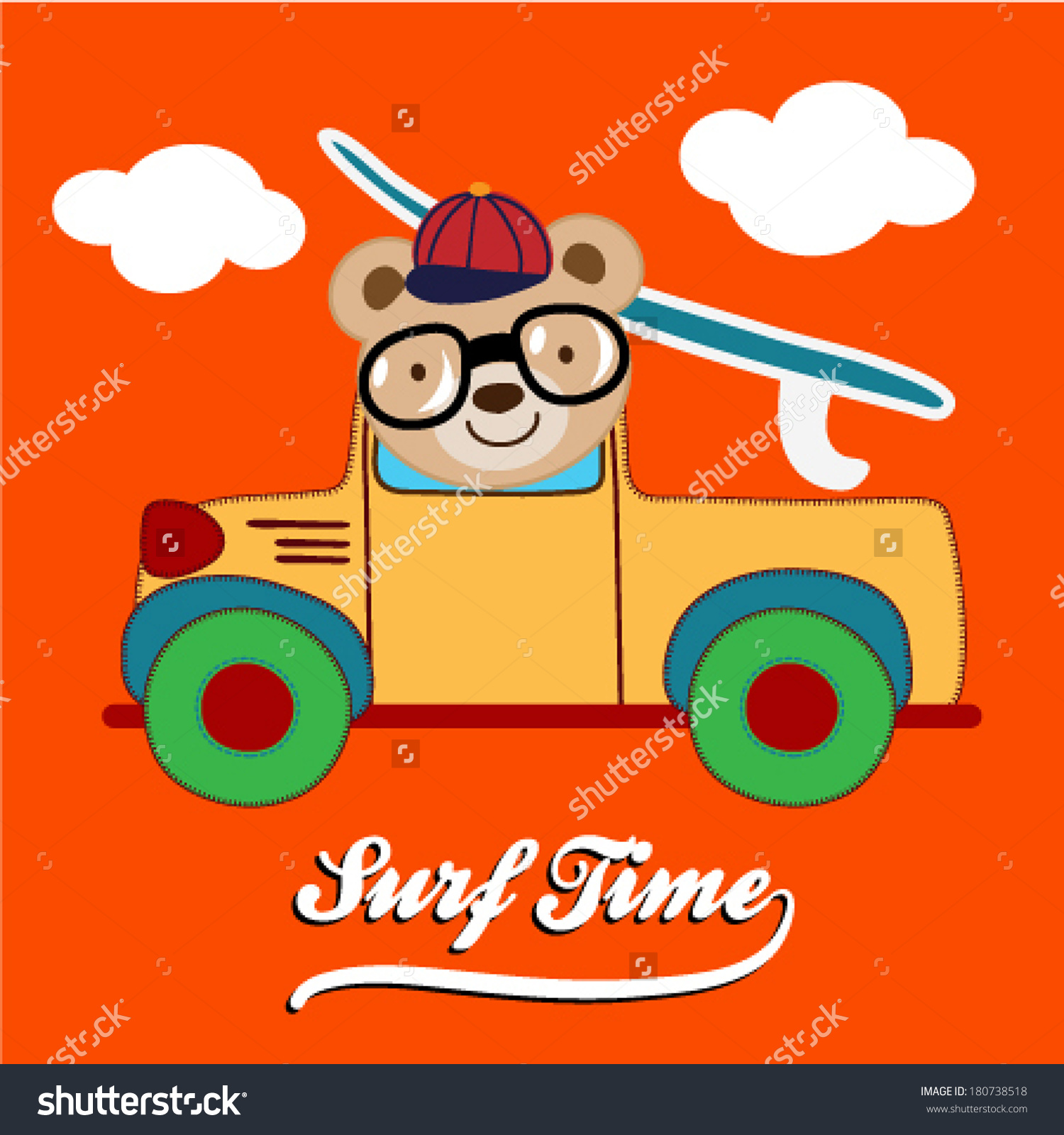 Cute Teddy Bear Driving Pick Surf Stock Vector 180738518.