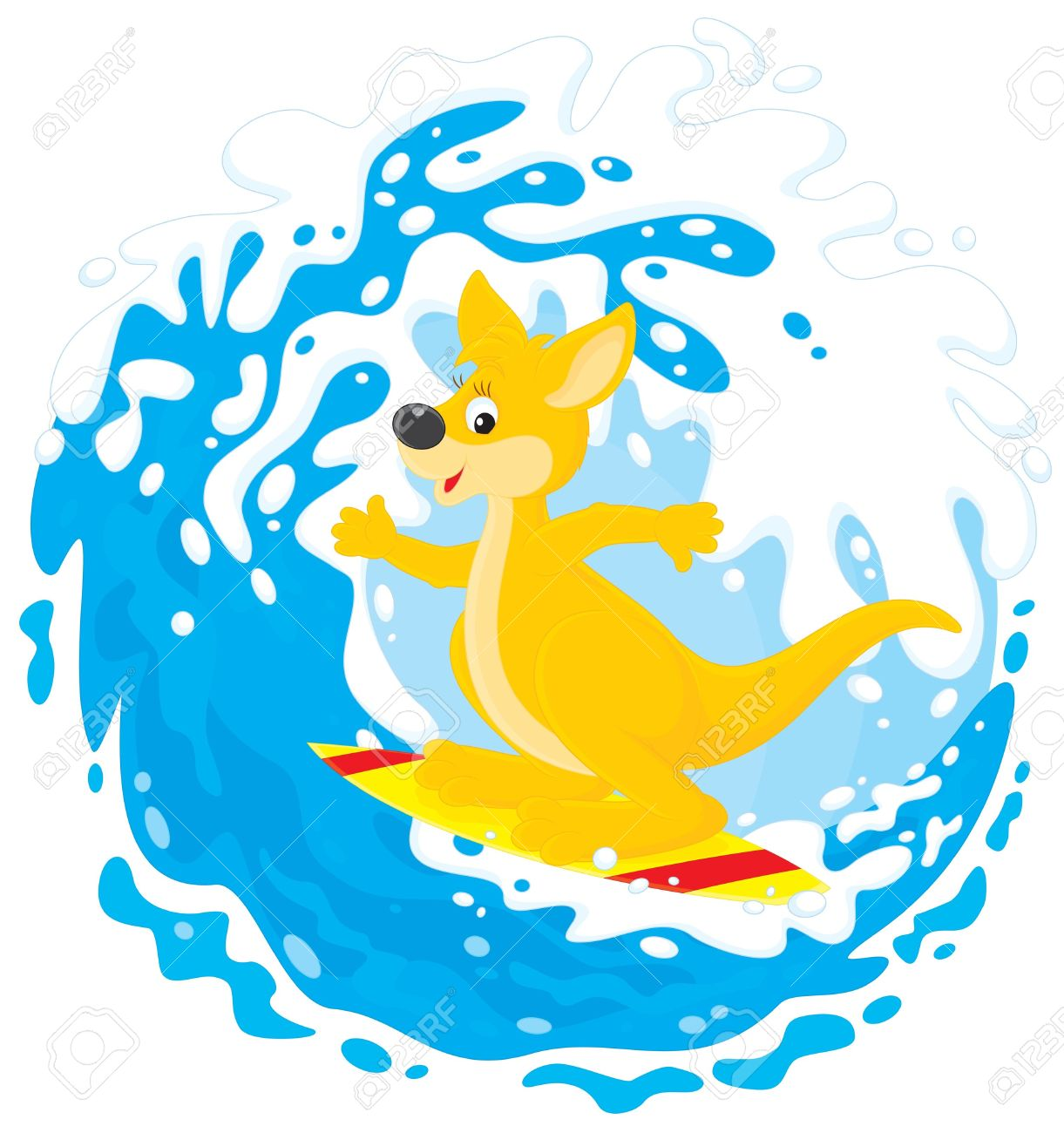 Kangaroo Surfer Riding A Big Ocean Wave Royalty Free Cliparts.