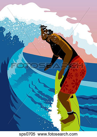 Stock Illustration of A surfer riding a wave sps0705.