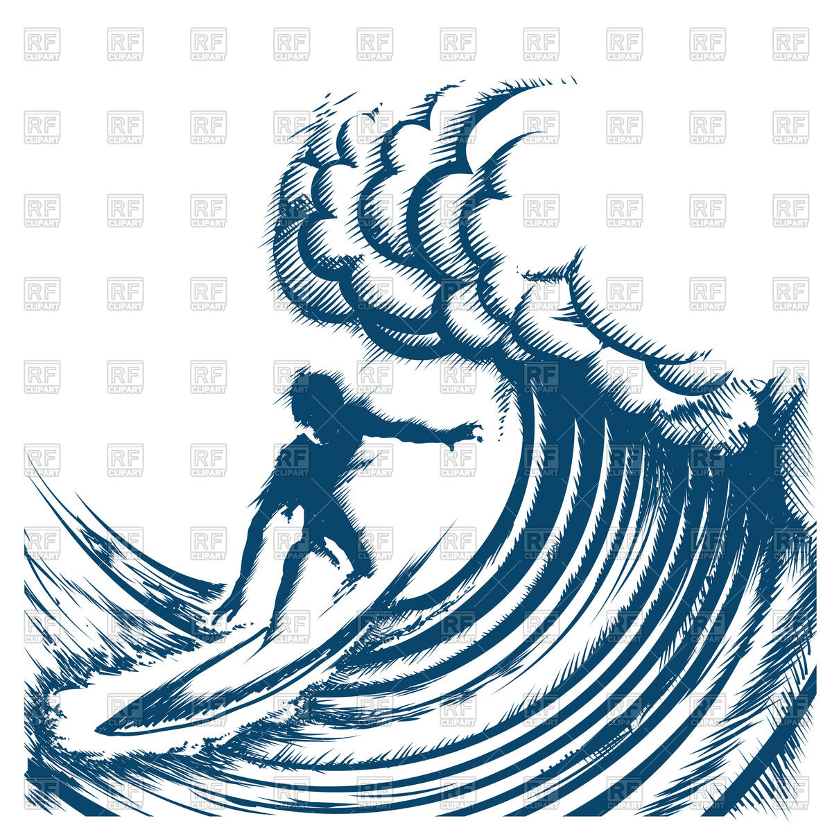 Surfer riding a big wave.