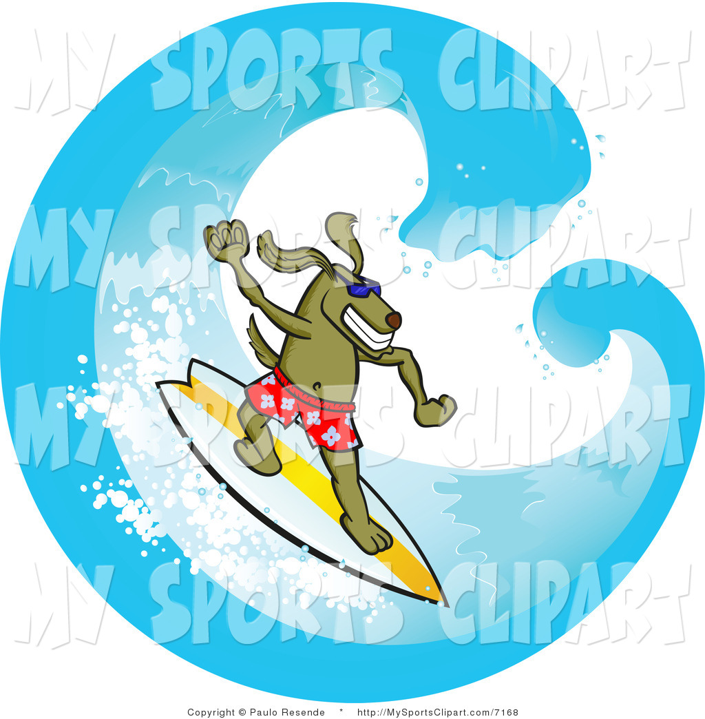 Sports Clip Art of a Surfer Dog Riding a Wave by Paulo Resende.