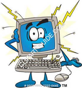 Cartoon Computer Experiencing An Electrical Surge.