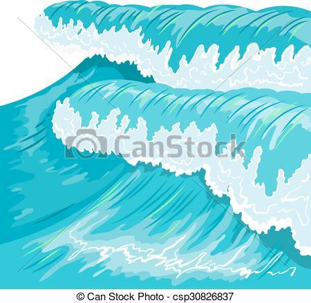 Vectors of Blue high ocean wave. Surge wave. Illustration in.