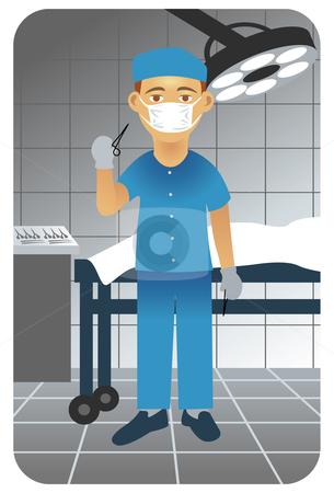 Surgeon in operative room stock vector.