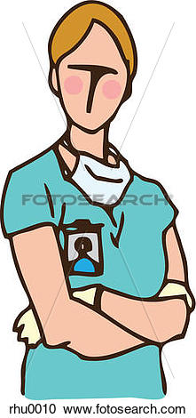 Stock Illustrations of A medical assistant with surgical gloves.