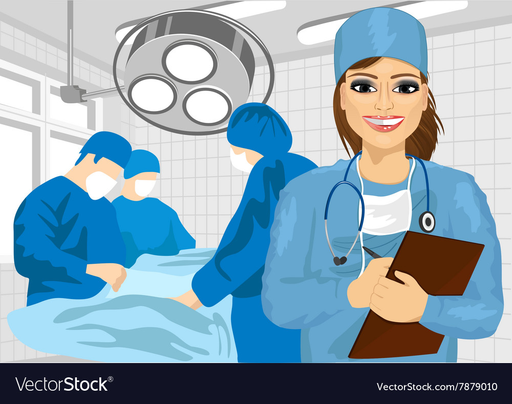 Female surgical nurse in operating room.