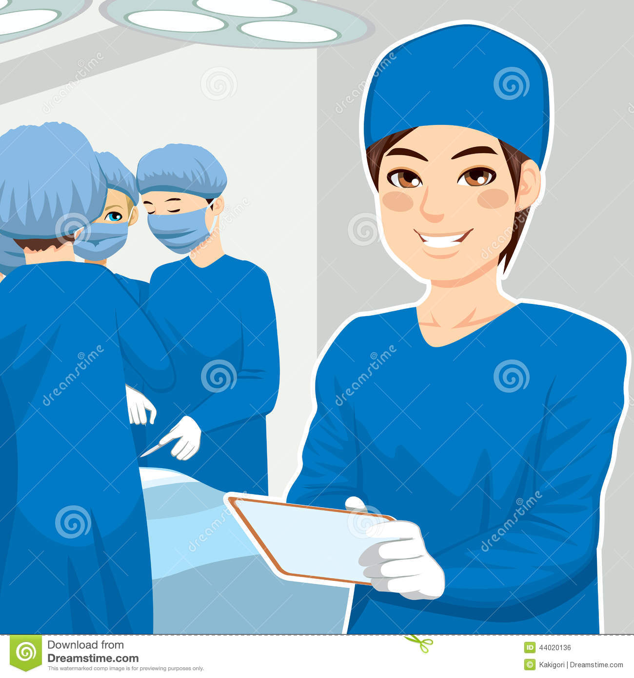 Young Surgery Team Operating Room Stock Illustrations.