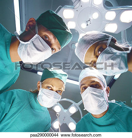 Stock Photo of Surgical team, low angle view paa290000044.