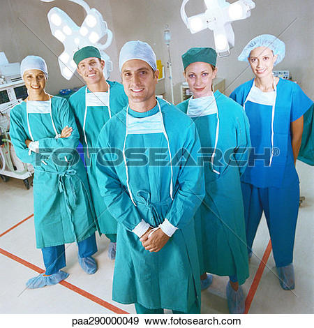 Stock Photograph of Surgical team smiling, portrait paa290000049.