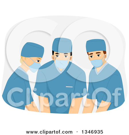 Clipart of a Medical Group Wearing Masks and Scrubs During Surgery.