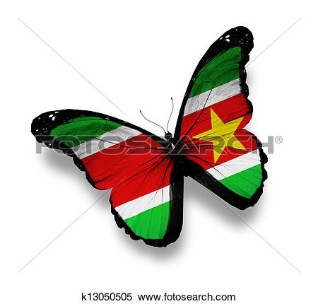 Stock Illustration of Republic of Suriname flag butterfly.