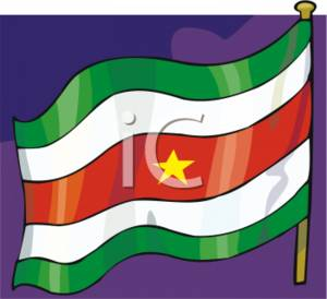 Clipart Picture of the Suriname Flag.
