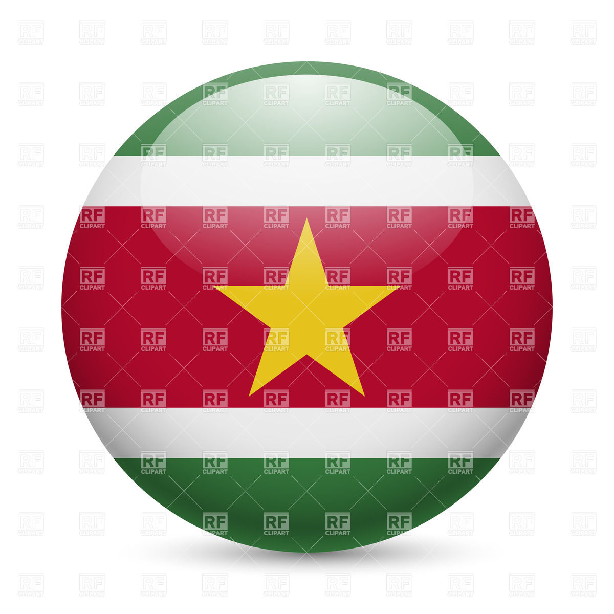 Round glossy icon with flag of Suriname Vector Image #35876.