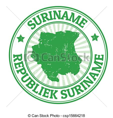 Vector Clip Art of Suriname stamp.