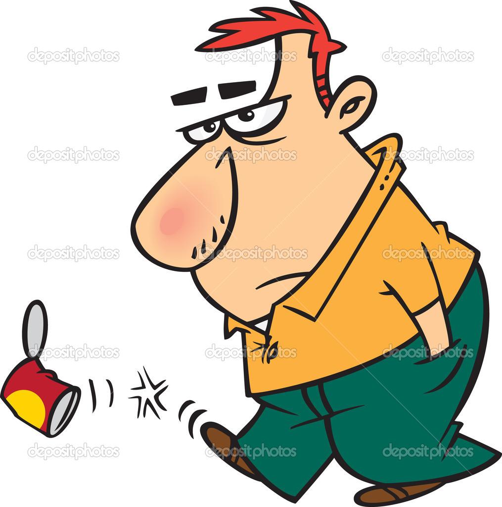 Clipart Cartoon Surly Man Kicking A Can.