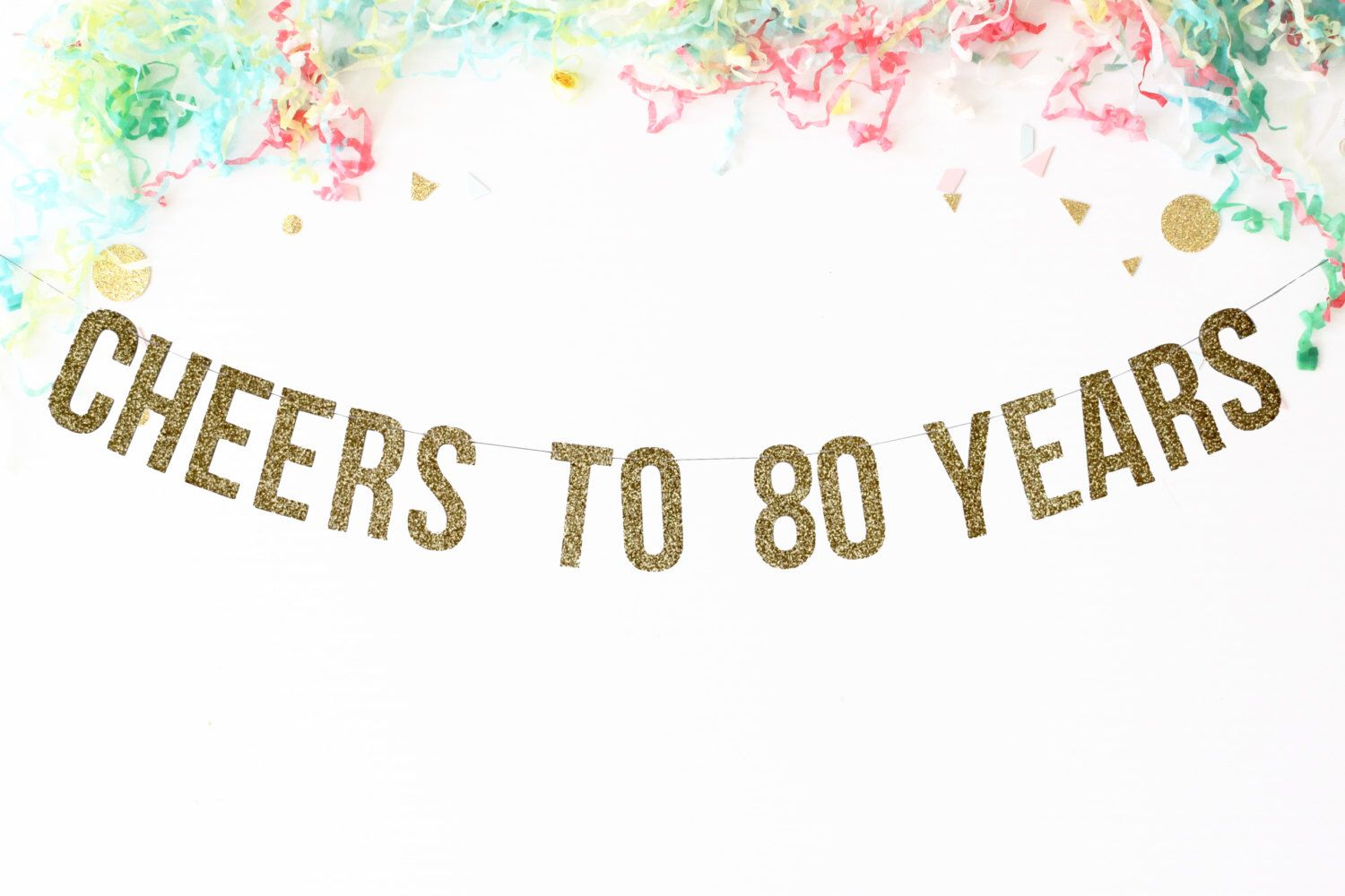 Cheers To 80 Years Banner.