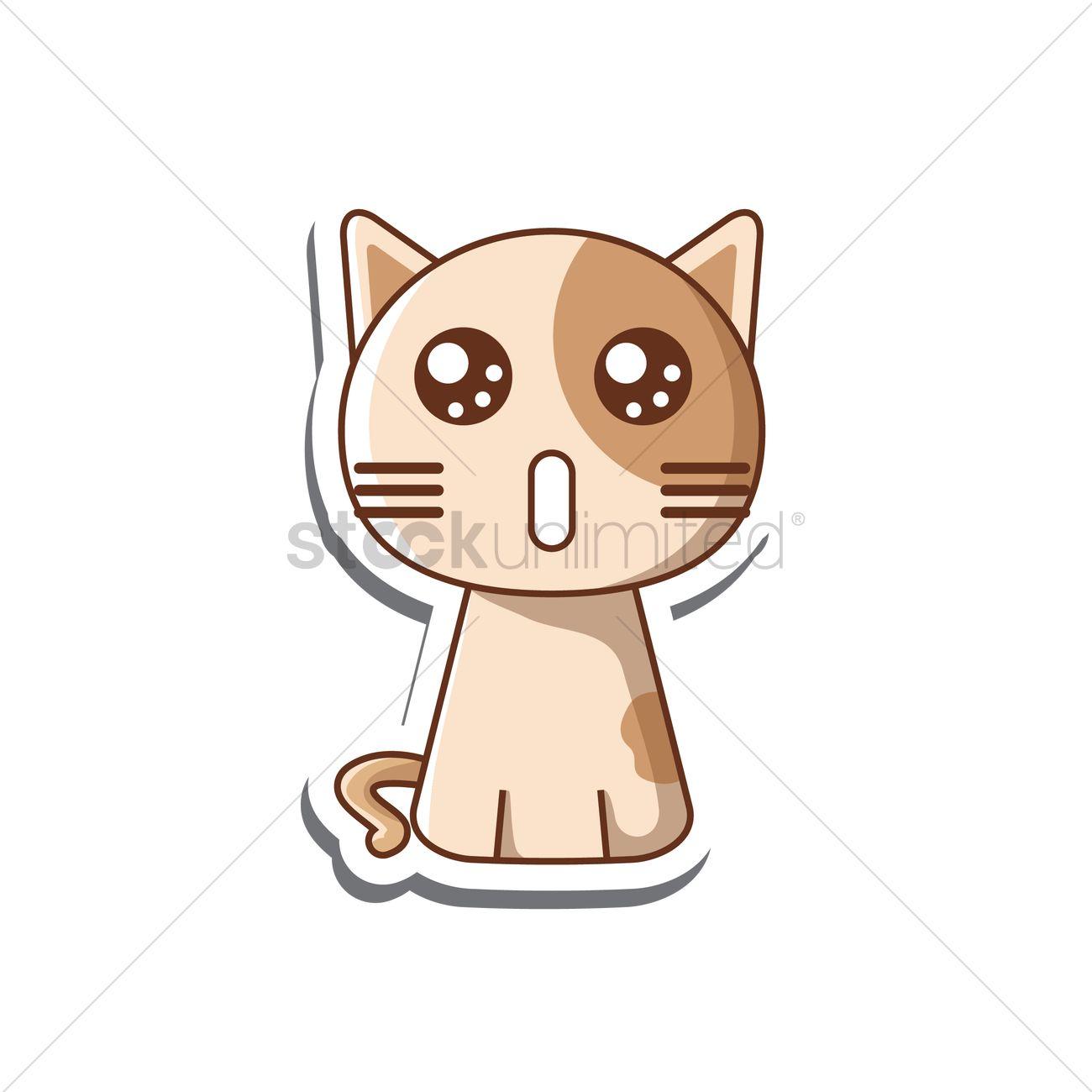 Free Surprised cat cartoon Vector Image.