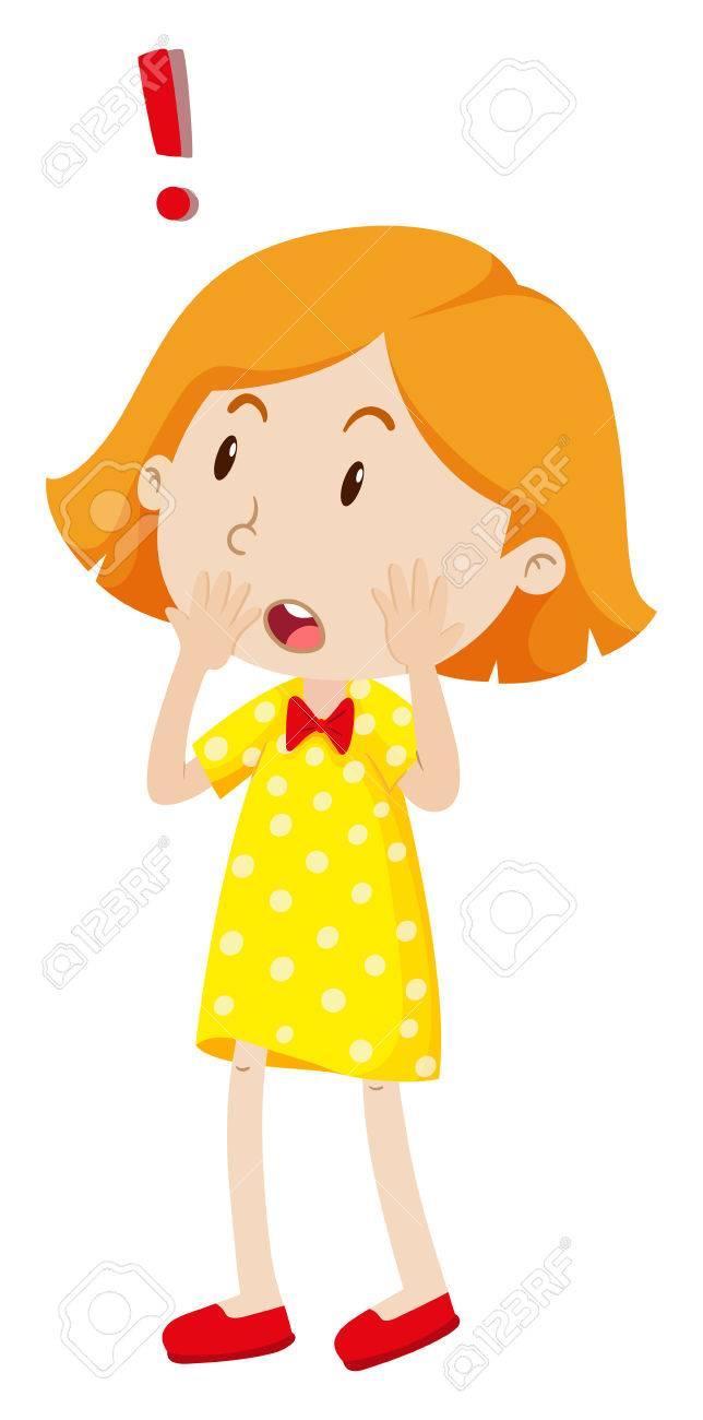 Little Girl Looking Shocked Illustration R #412597.
