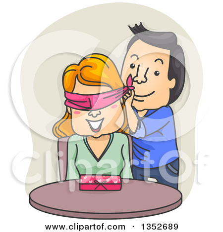 Clipart of a Cartoon Valentine Couple, the Man Surprising the.