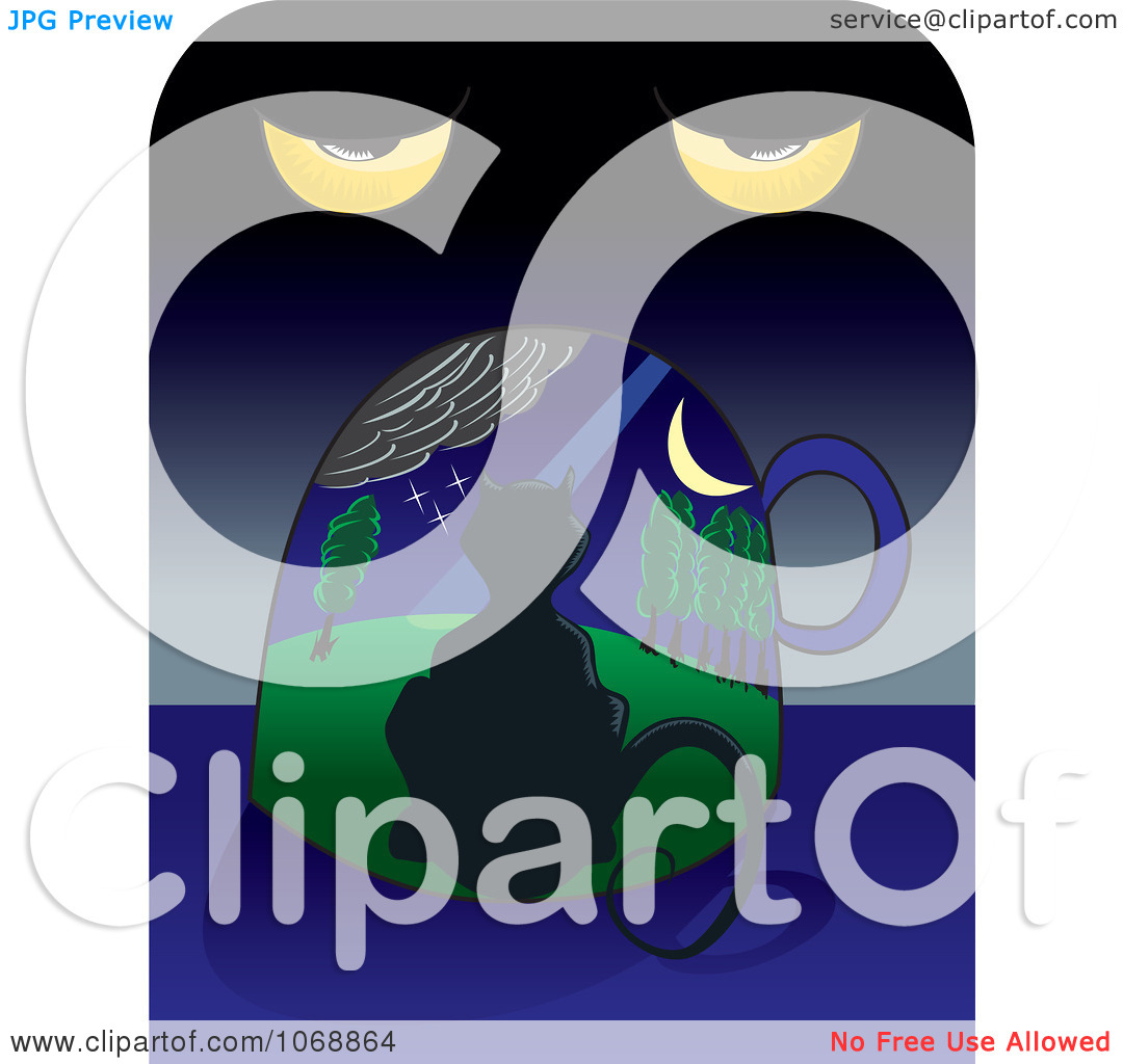 Clipart Surreal Cat Under A Night Sky And Eyes.