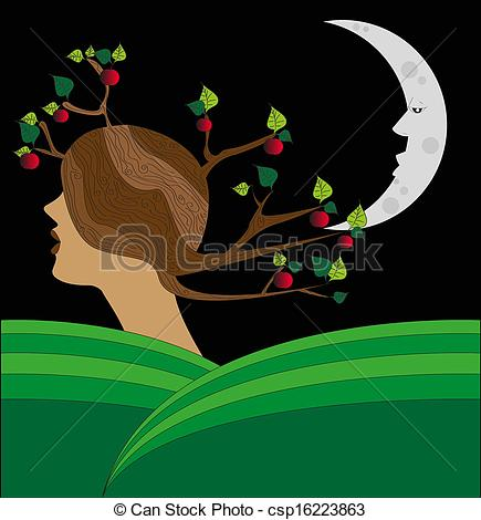 Clip Art Vector of vector surreal landscape.