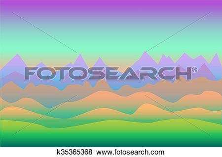Clip Art of Surrealistic landscape vector background with.