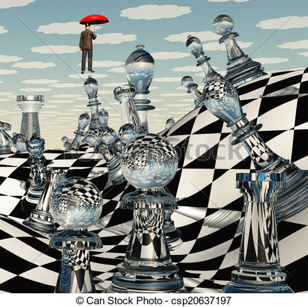 Stock Illustration of Surreal Chess Landscape csp20637197.