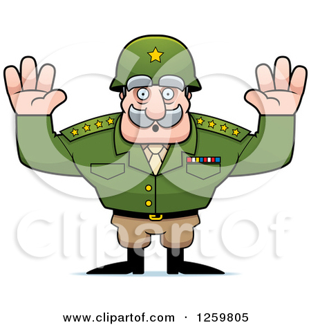 Clipart of a Blond White Man Shouting and Surrendering with a.